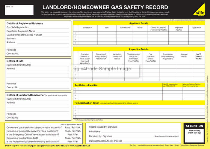 gas safety inspections record
