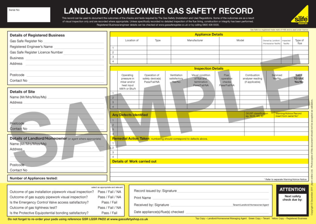 gas safety certificate selling a house